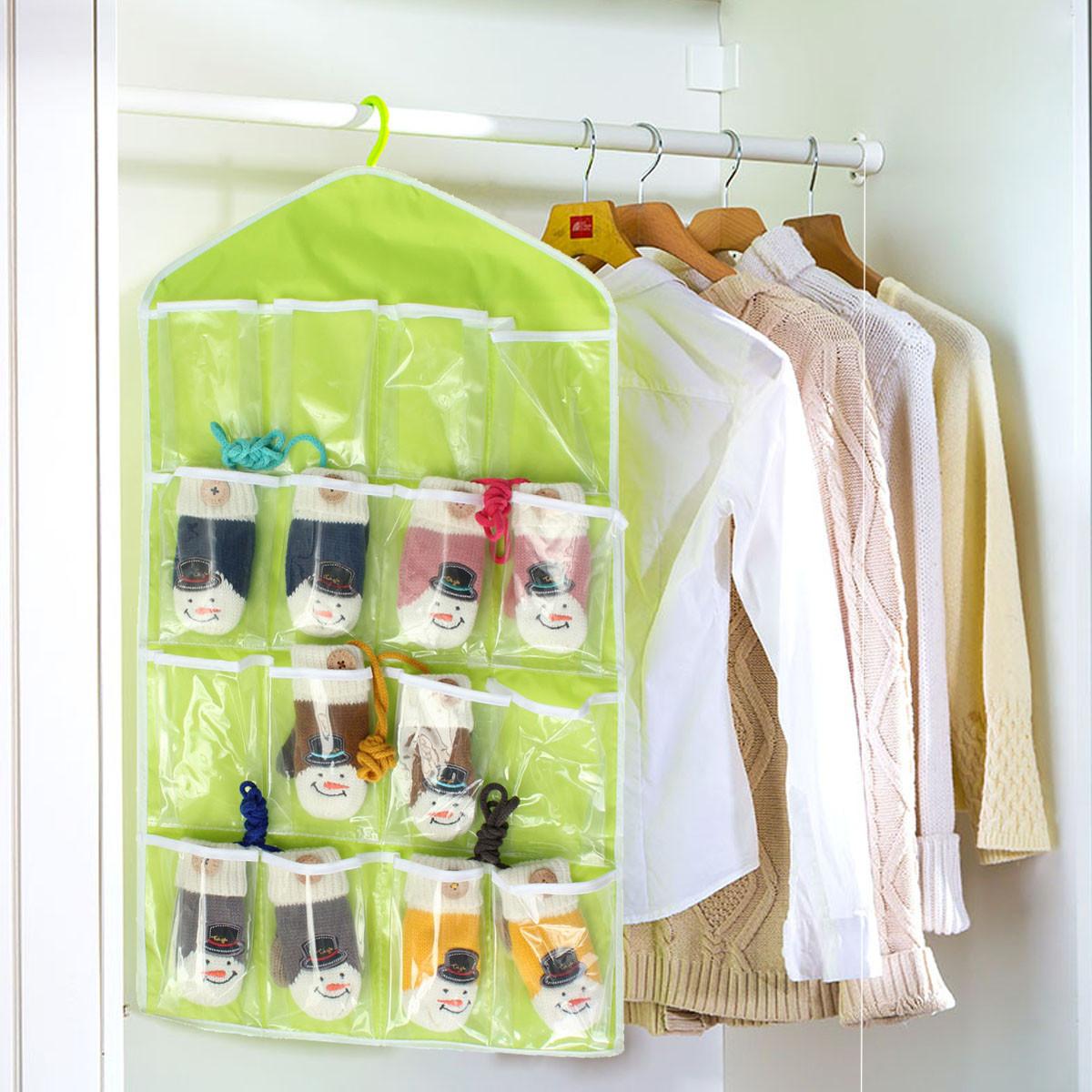 Storage Bag 16 Pocket Over Door Hanging Bag Shoe Socks Toys Hanger ...