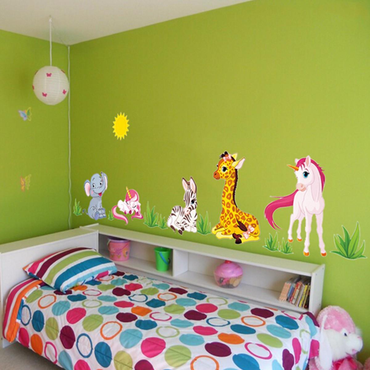 Animal Home Decor: Cartoon Animal Elephant Giraffes Grass Bedroom Removable