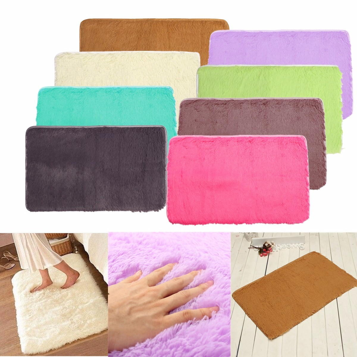 80x50cm Absrobent Shaggy Carpet Home Anti Slip Rug Bedroom Soft Mat