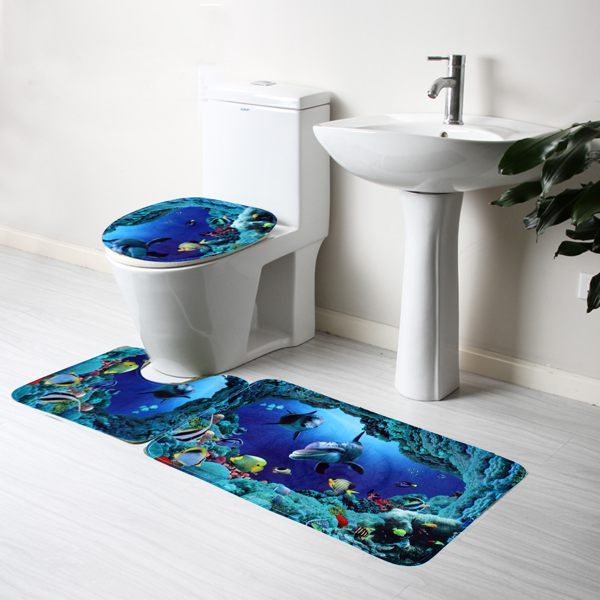 Blue Ocean Bath Rugs Set Velvet Fabric