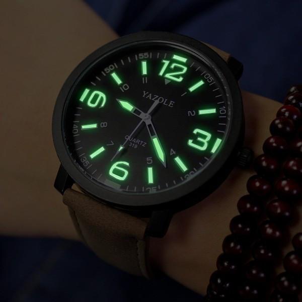 Yazole 319 Luminous Pu Leather Band Men Analog Sport Wrist