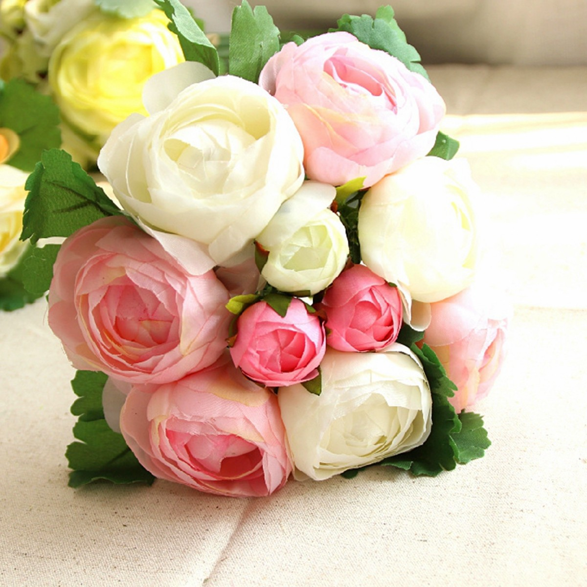 Artificial Silk Flower Peony Bouquet 9 Heads Flowers Home Cafe ...