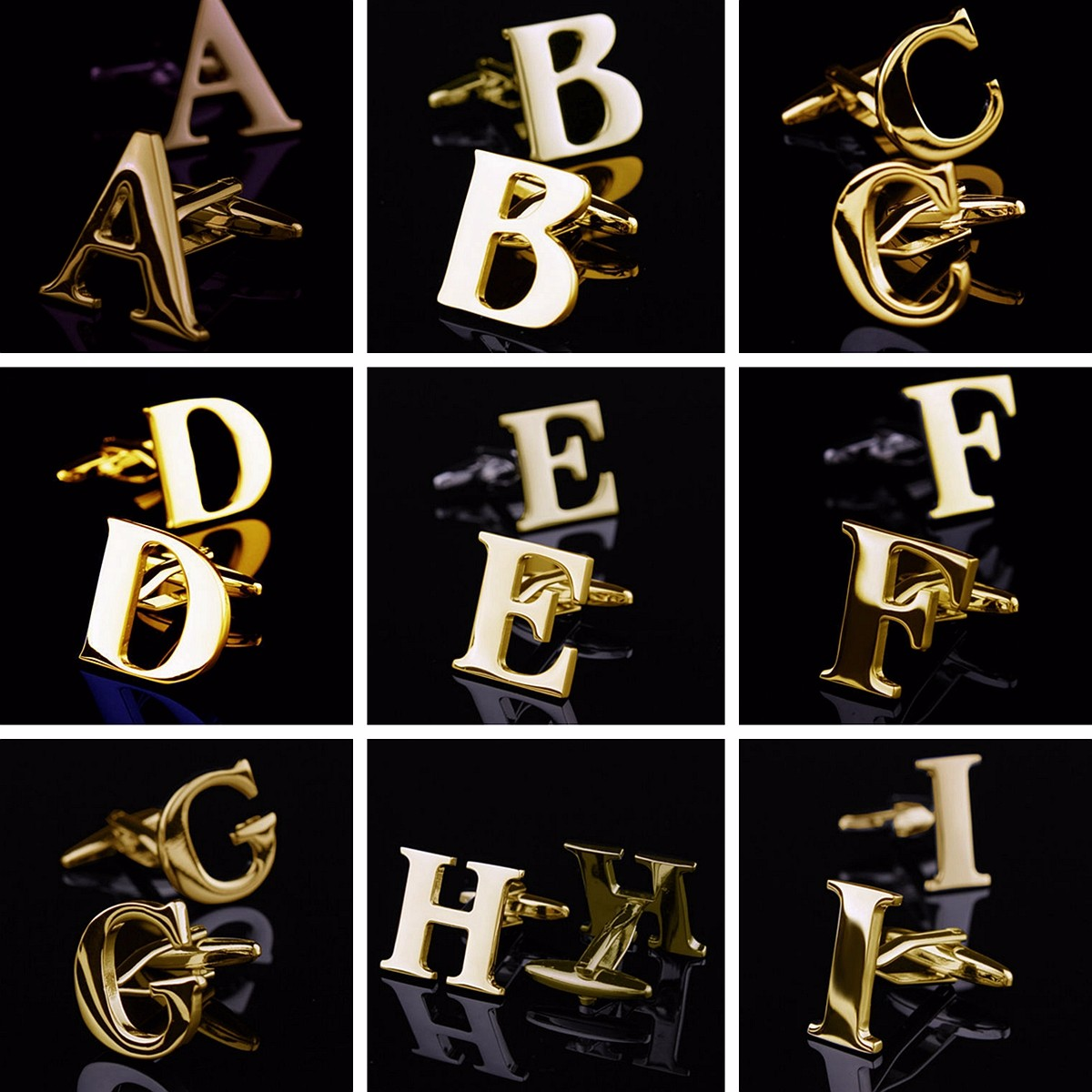 1 Inch Metal Letters Men Gold Initials Letters Cufflinks Vintage Stainless Steel