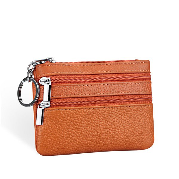 fd29bf82a6 Women Geniune Leather Double Zipper Card Holder Clutch Wallet Candy Color  Coin Bags