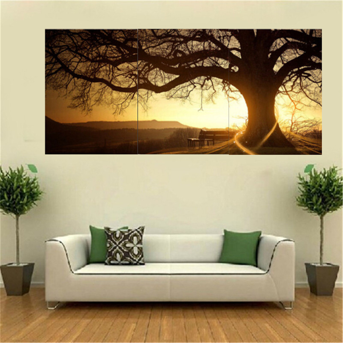 3pcs sunset combination painting printed on canvas for Home decor wall hanging