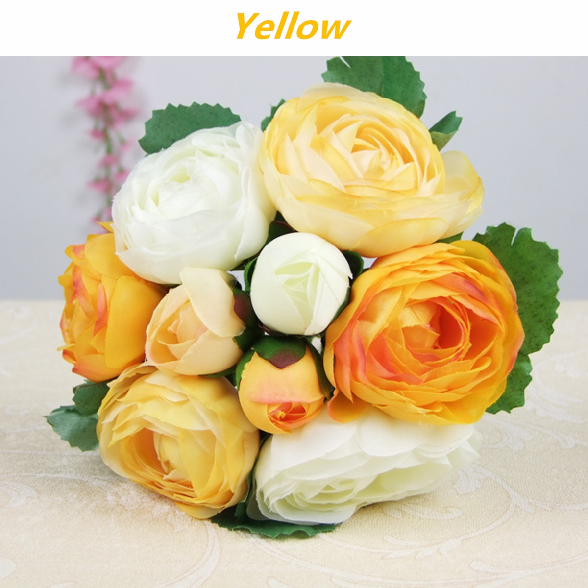 Artificial Silk Flower Peony Bouquet 9 Heads Flowers Home Cafe Decoration Wedding Bridal Party Decor