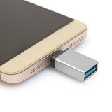 Aluminum Alloy USB 3.1 Type-c Male to USB 3.0 Female Data / Charger Adapter for MacBook 12 inch, Chromebook Pixel 2015, Huawei 6P, LG 5X, Google 5X / 6P, Letv 1S / Le 1 Pro, Xiaomi 4C, Microsoft Lumia 950 (Silver)