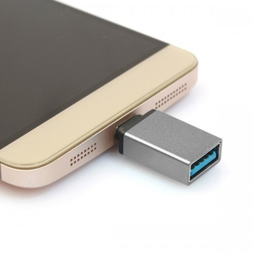 Aluminum Alloy USB 3.1 Type-c Male to USB 3.0 Female Data / Charger Adapter for MacBook 12 inch, Chromebook Pixel 2015, Huawei 6P, LG 5X, Google 5X / 6P, Letv 1S / Le 1 Pro, Xiaomi 4C, Microsoft Lumia 950 (Grey)