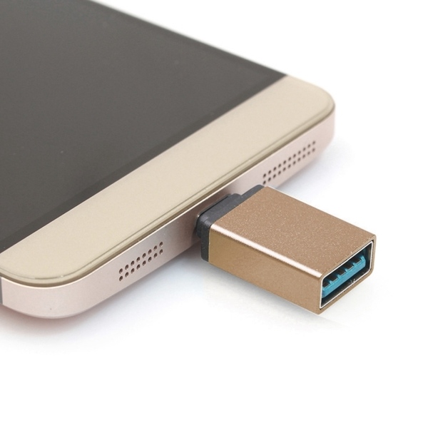 Aluminum Alloy USB 3.1 Type-c Male to USB 3.0 Female Data / Charger Adapter for MacBook 12 inch, Chromebook Pixel 2015, Huawei 6P, LG 5X, Google 5X / 6P, Letv 1S / Le 1 Pro, Xiaomi 4C, Microsoft Lumia 950 (Gold)
