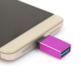 Aluminum Alloy USB 3.1 Type-c Male to USB 3.0 Female Data / Charger Adapter for MacBook 12 inch, Chromebook Pixel 2015, Huawei 6P, LG 5X, Google 5X / 6P, Letv 1S / Le 1 Pro, Xiaomi 4C, Microsoft Lumia 950 (Magenta)