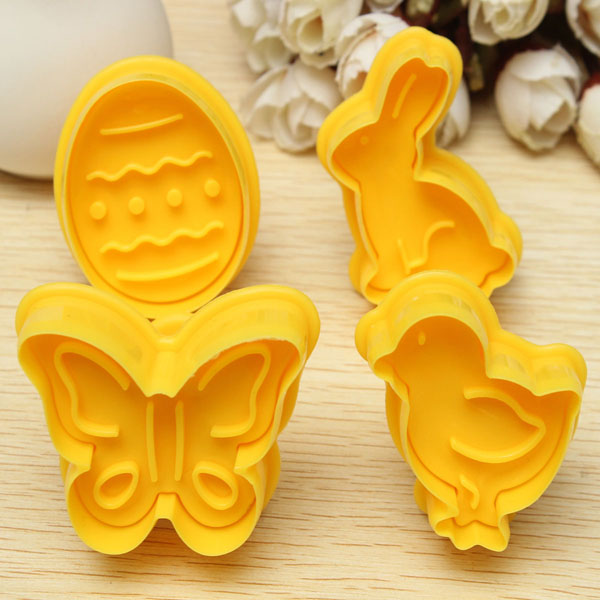 4PCS Easter Cookie Plunger Cutter Bird Butterfly Egg Rabbit Fondant Cake Baking Mold