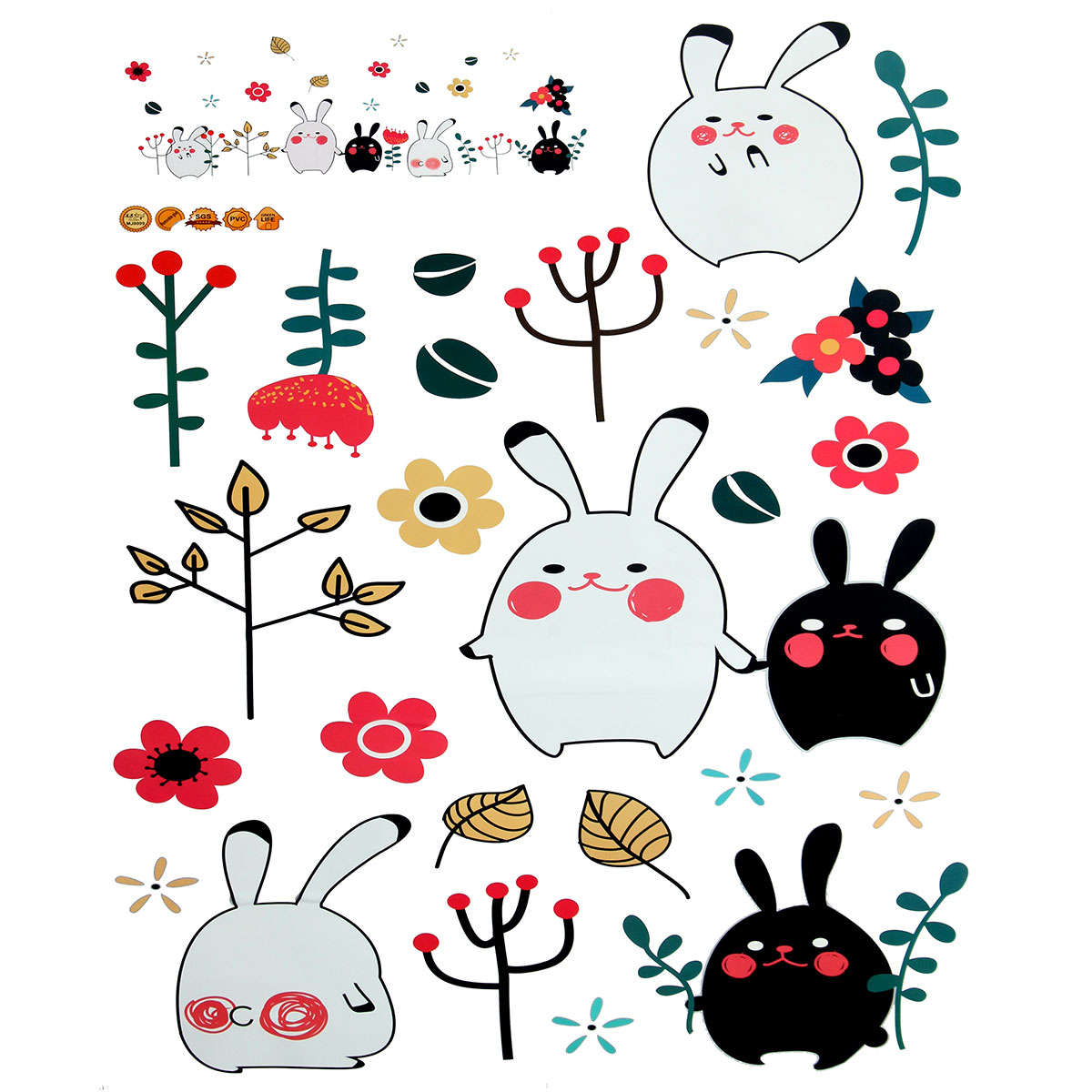 Animal Rabbit Wall Sticker Wallpaper Removable DIY Decal ...