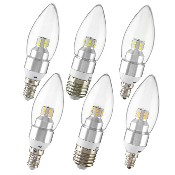 E12/E14/E27 3W Non-Dimmable LED Candle Silver Light Bulb ...