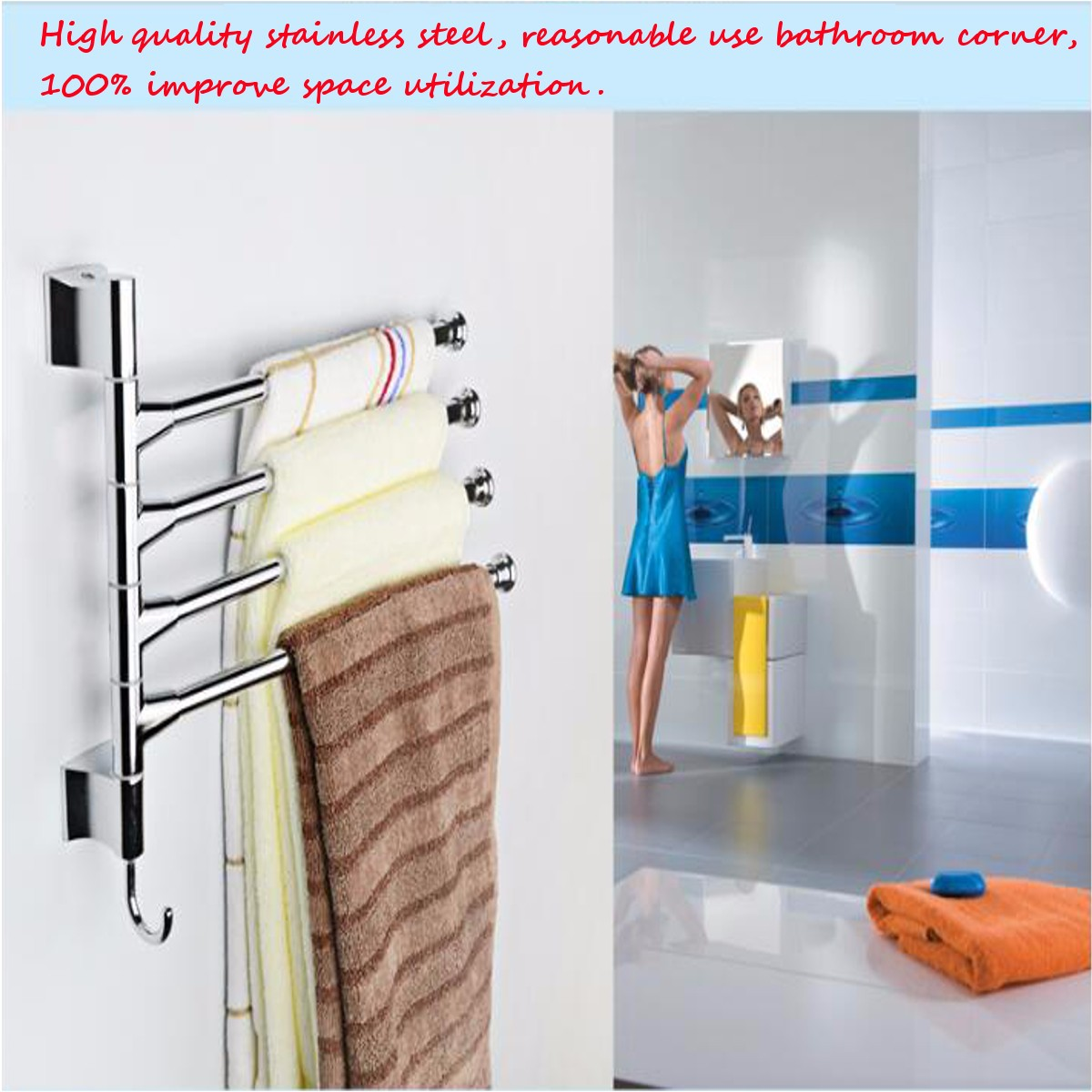 Bathroom Kitchen Wall Mounted Rotating Towel Rack Storage Hold