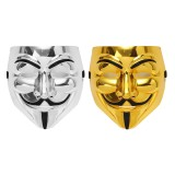 V for Vendetta Guy Fawkes Face Mask Halloween Cosplay Costumes Gold/Silver