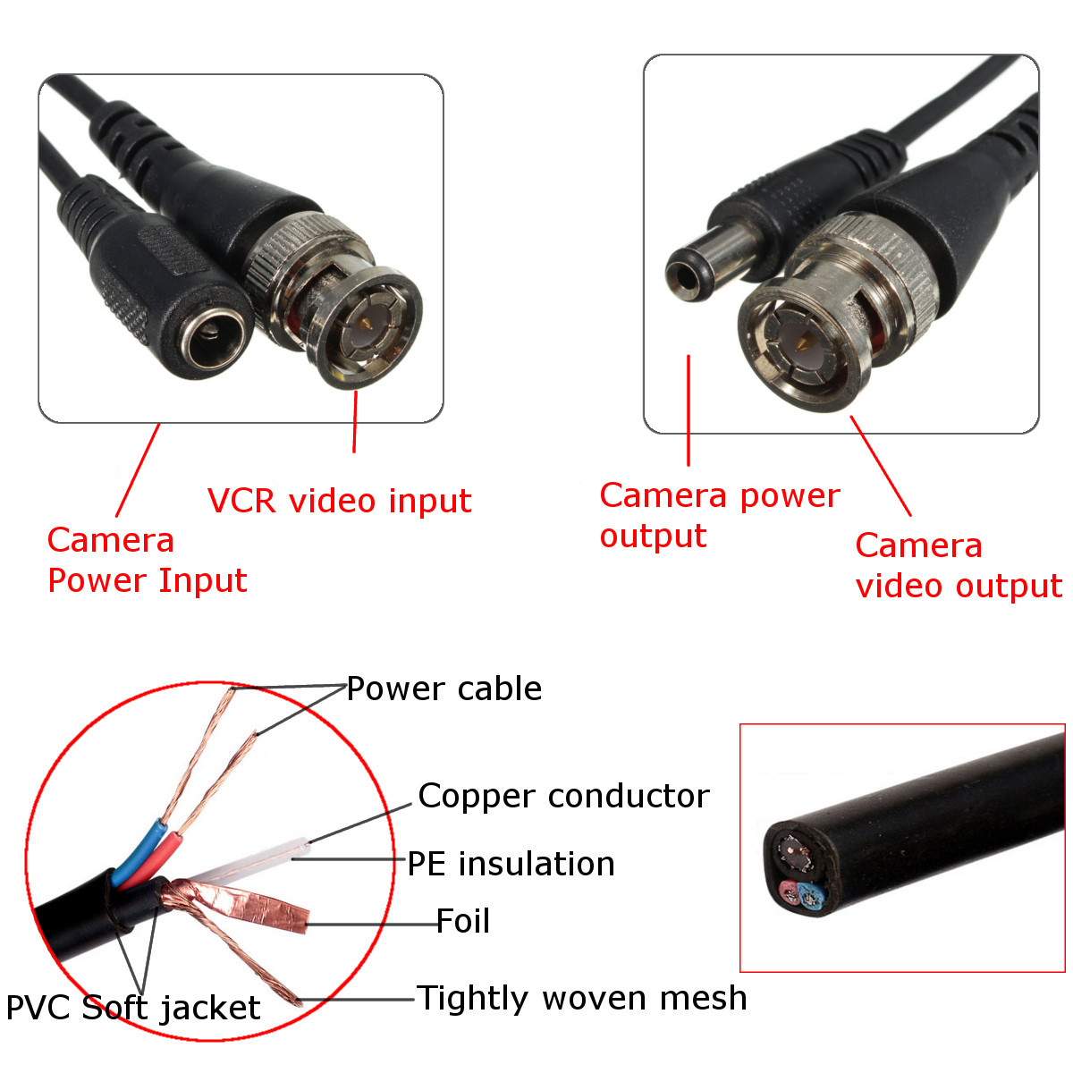 65ft 20m Security Camera Cable Video Power Extension Wire