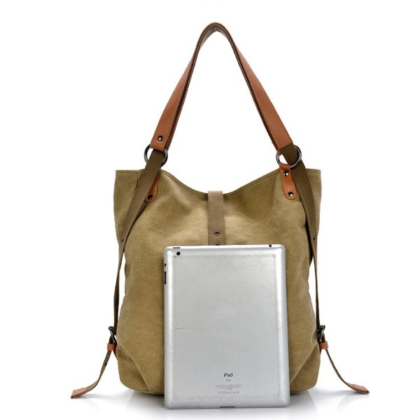 Women Men Canvas Handbags Multifunction Backpack Casual Shoulder ... 31791141e865a