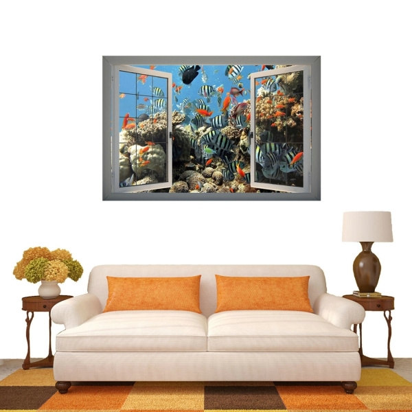 3d underwater world window view removable wall art sticker for Stickers 3d pared