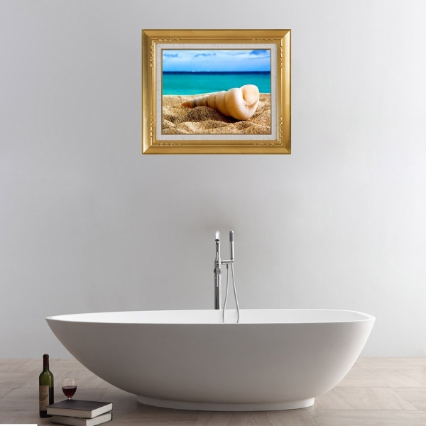 3D Beach View Removable Bathroom Wall Art Sticker 50 X 60 X 0 3 Cm