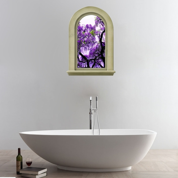 3d elegant purple flowers tree view removable bathroom for Bathroom ideas purple accents