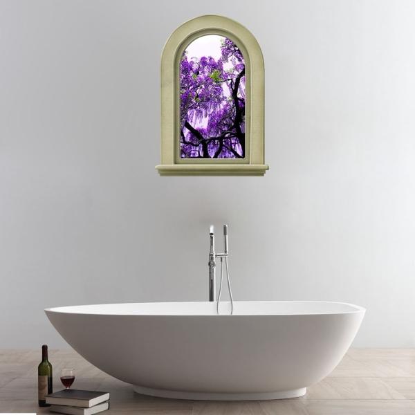 Purple Wall Decor For Bathroom : D elegant purple flowers tree view removable bathroom