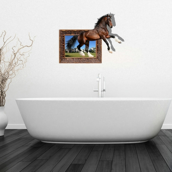 3d horse removable bathroom art stickers 73 6 x 58 x 0 3 for 3d bathroom drawing