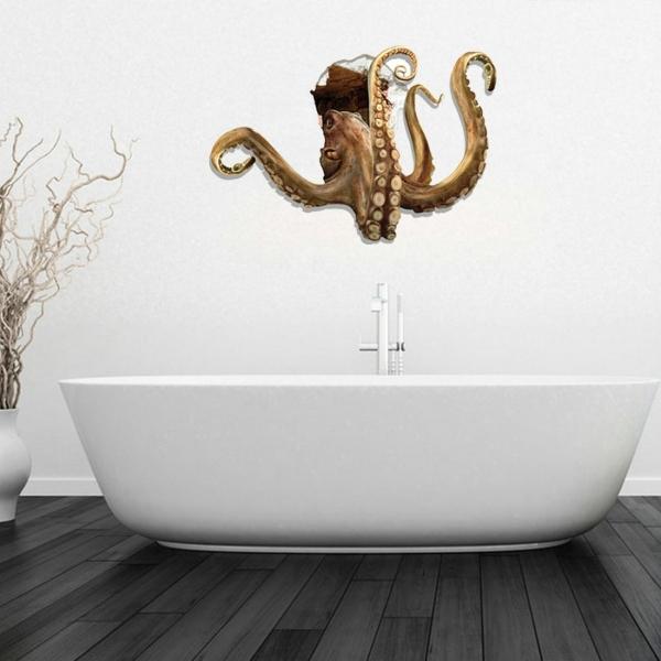 3d Octopus Removable Bathroom Art Stickers 83 7 X 58 X 0