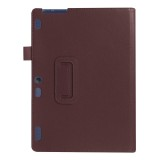 Litchi Texture Horizontal Flip Solid Color Leather Case with Holder for Lenovo TAB 2 A10-30 X30F & TAB 2 A10-70F, 10.1 inch (Coffee)