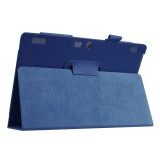 Litchi Texture Horizontal Flip Solid Color Leather Case with Holder for Lenovo TAB 2 A10-30 X30F & TAB 2 A10-70F, 10.1 inch (Dark Blue)