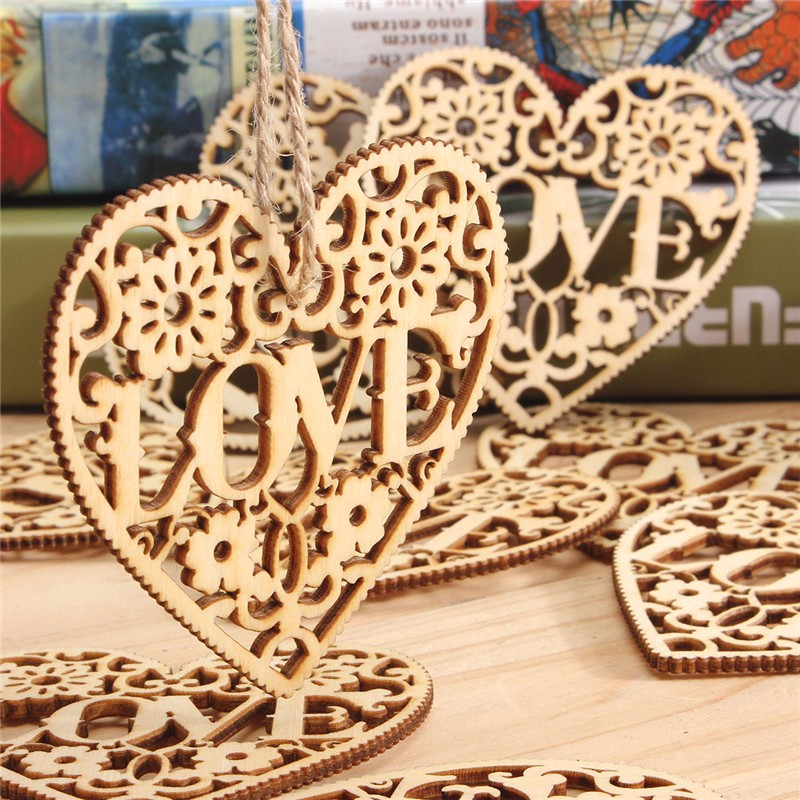 10pcs Heart Love DIY Wood Craft Hanging Decoration Craft Gift