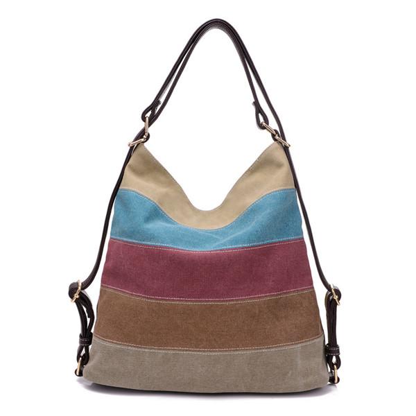 9df0fb8601 Women Canvas Stripe Shoulder Bags Casual Capcity Multifunction ...
