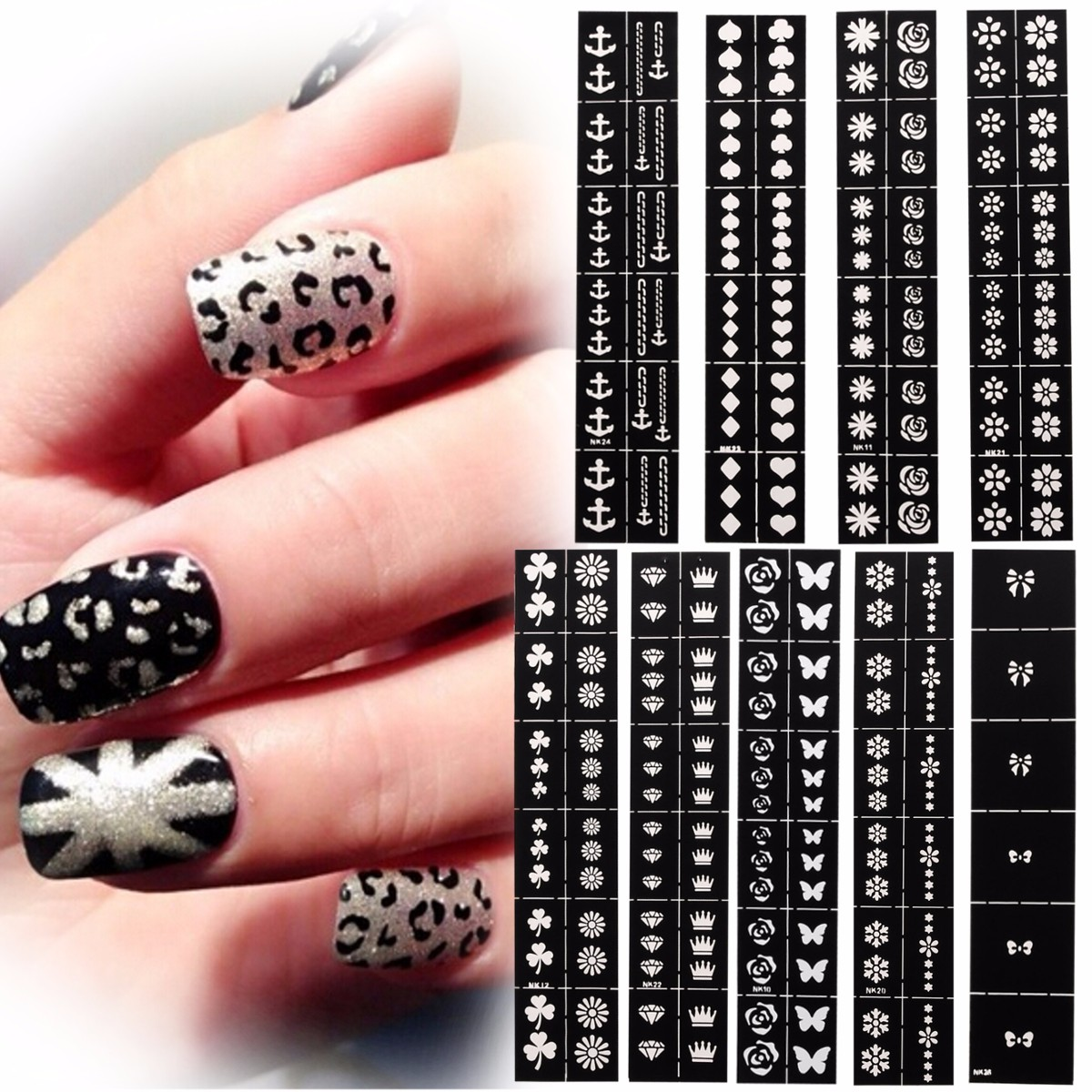 nail art stencils designs vinyl diecut stickers decal decoration tool alex nld. Black Bedroom Furniture Sets. Home Design Ideas
