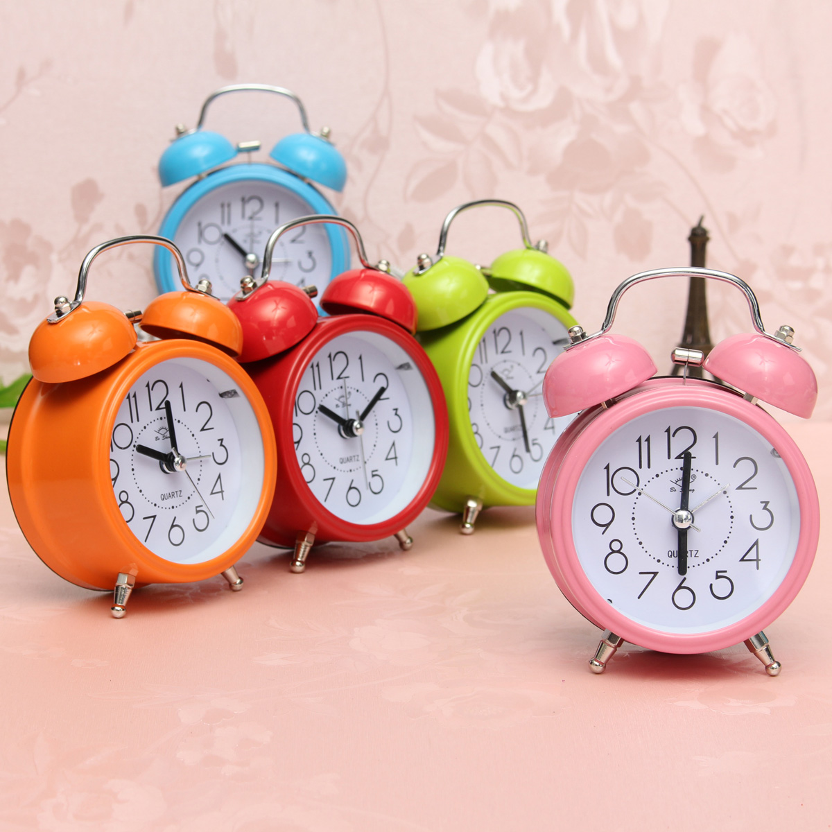 Classic silent double bell alarm clock concise quartz movement bedside night light home decor - Timer night light for toddlers ...
