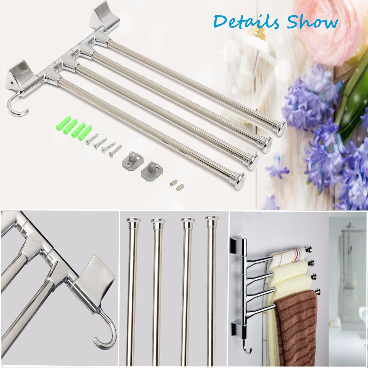 ... Kitchen Wall Mounted Rotating Towel Rack Storage Hold  Alex NLD