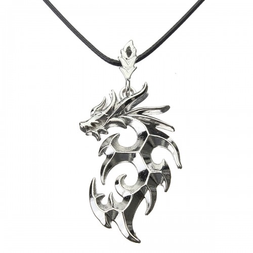 Silver Dragon Rock Cool Stainless Steel Charm Leather Necklace Chain