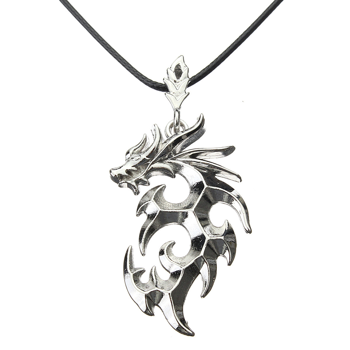 Silver Dragon Rock Cool Stainless Steel Charm Leather ...