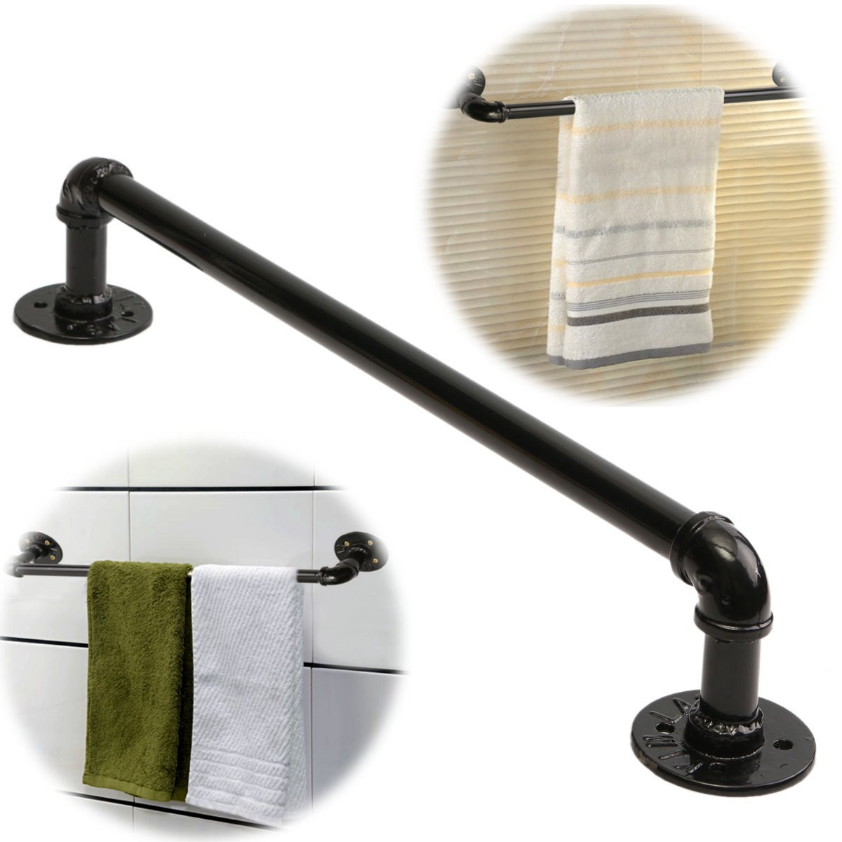 60cm retro industrial tube towel rack clothes rod alex nld for Porte serviette mural noir