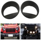 For 07-15 Jeep Wrangler JK Angry Bird Style Matte Black Headlight Cover Bezel Eyelids