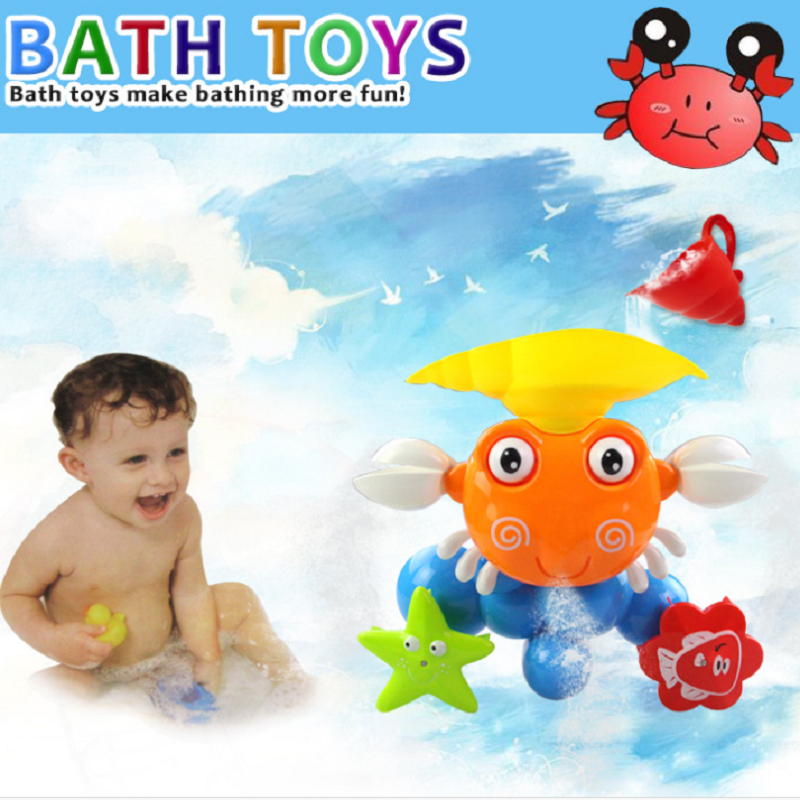 Baby Crab Windmills Bath Toy Faucet Plastic Wash Toys Spray Water ...