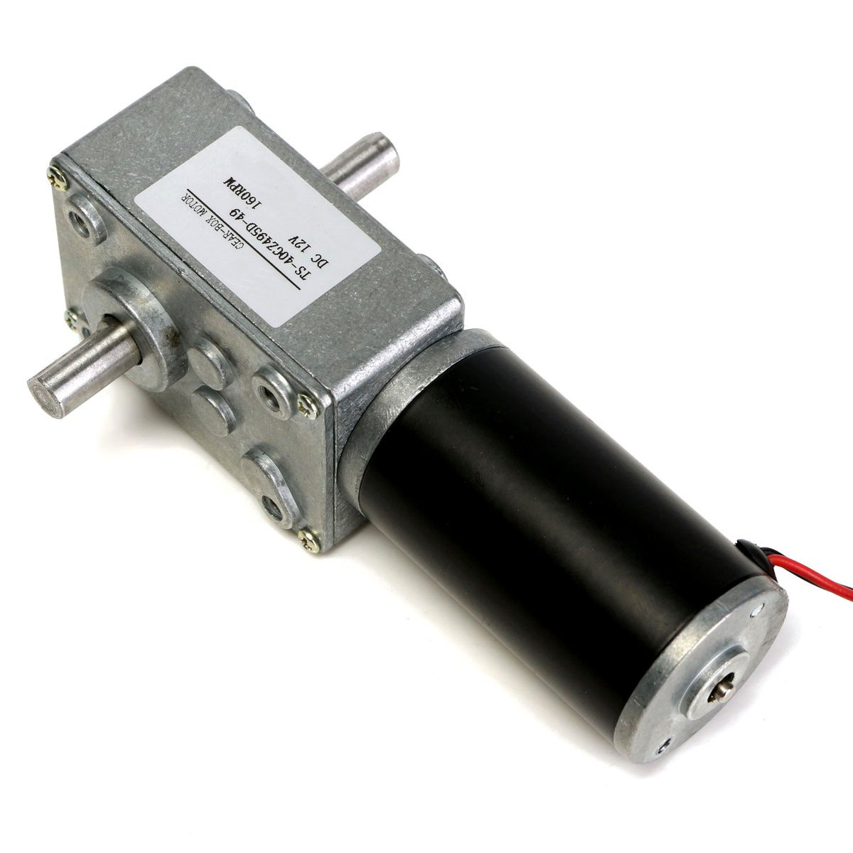 12v 160rpm Dc Motor Reduction Motor Worm Gear Double Shaft