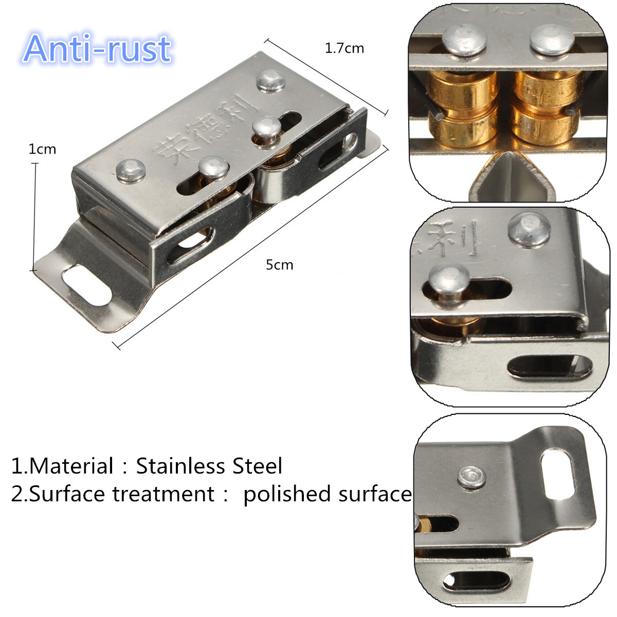 Stainless Steel Catch Stopper For Cupboard Cabinet Kitchen