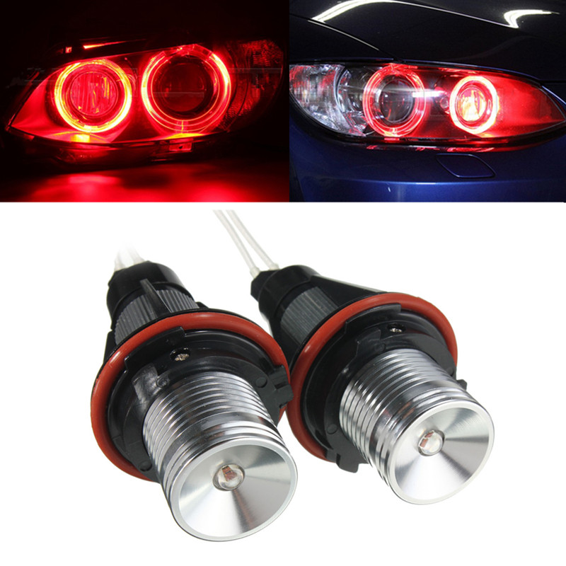 Pair Red Angel Eyes LED Lights Ring Marker Xenon HID for ...