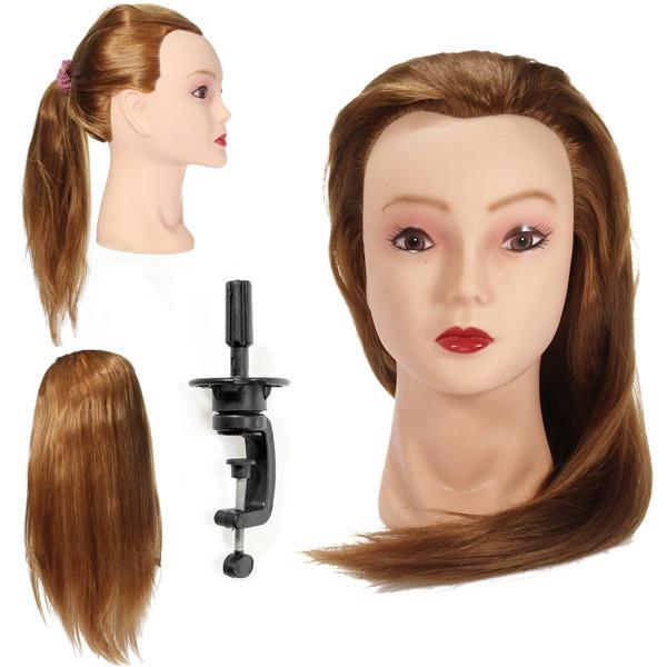 Golden Long Straight Hair Training Head Cutting Practice