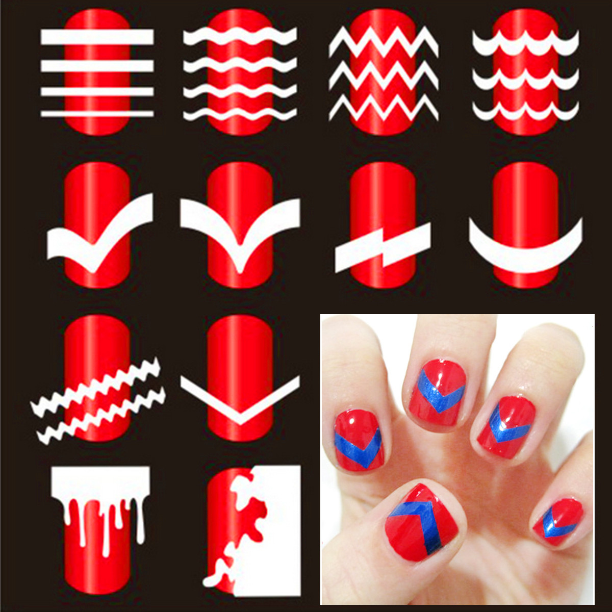 French nail art tip tape guide stencil manicure tool for sticker french nail art tip tape guide stencil manicure tool for sticker decal decoration diy prinsesfo Choice Image