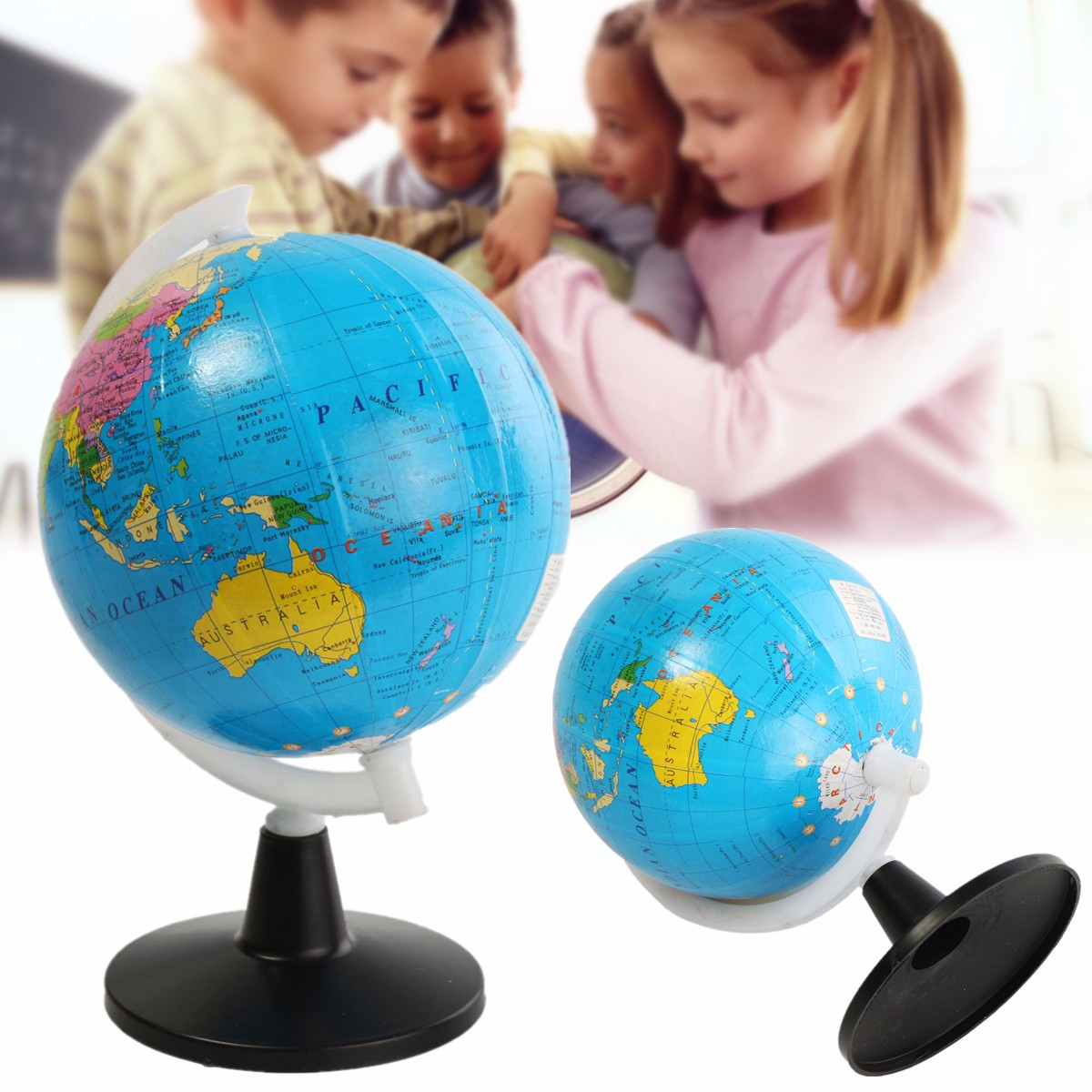 World Globe Atlas Map With Swivel Stand Geography