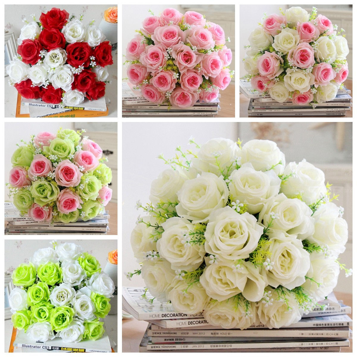 18 heads artificial silk rose flowers wedding bride bonquet home
