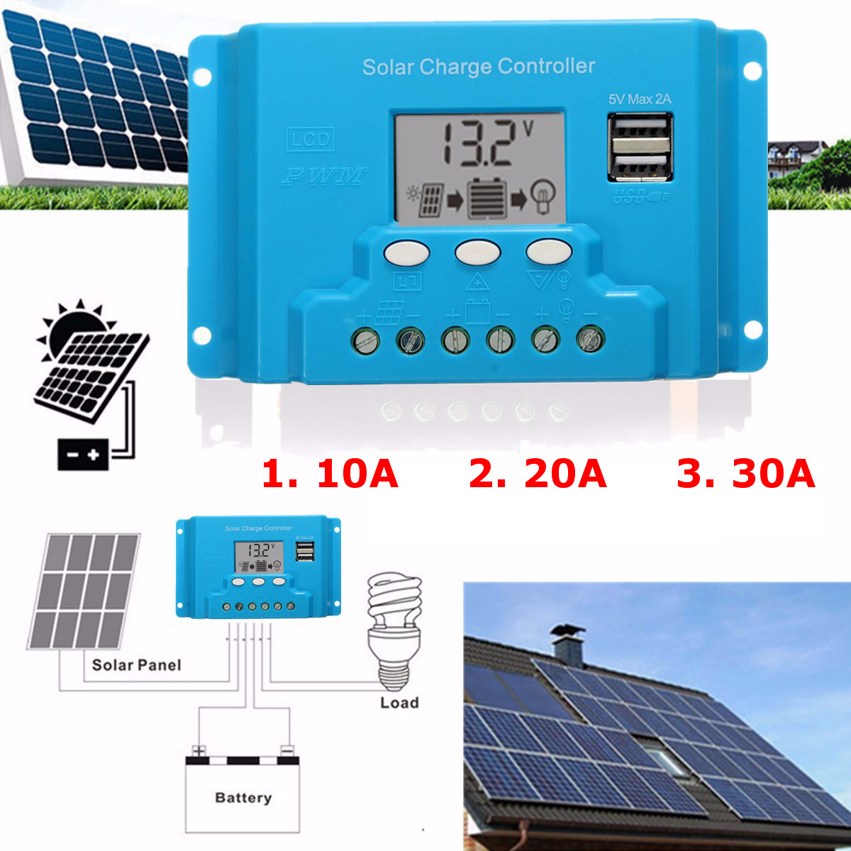 10a 20a 30a Lcd Pwm Solar Panel Charge Controller Battery Regulator Panels To Batteries Via D148f0fe E7da A124 4360 10ad544eafdc