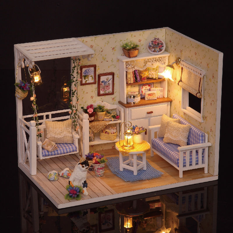 New Dollhouse Miniature DIY Kit With Cover Wood Toy doll house room Kitten Diary | Alexnld.com