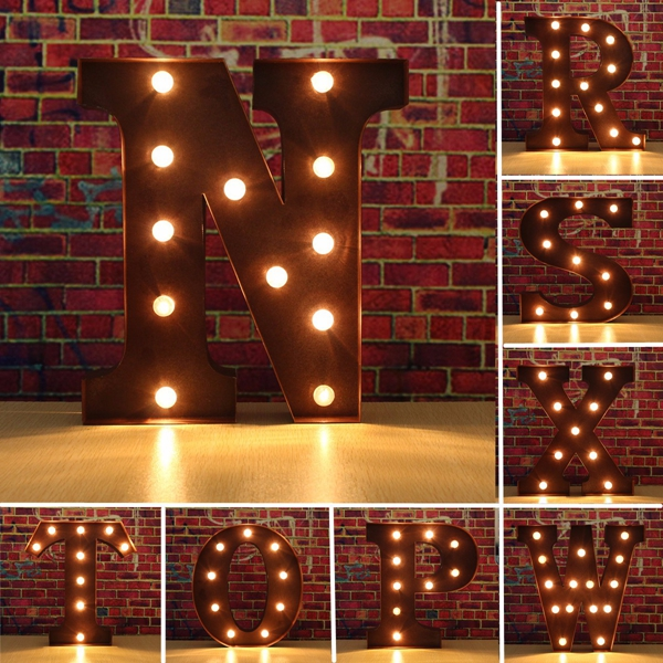 Industrial Style Light Up Letters: Vintage Metal LED Light DIY Letter N To X Sign Carnival