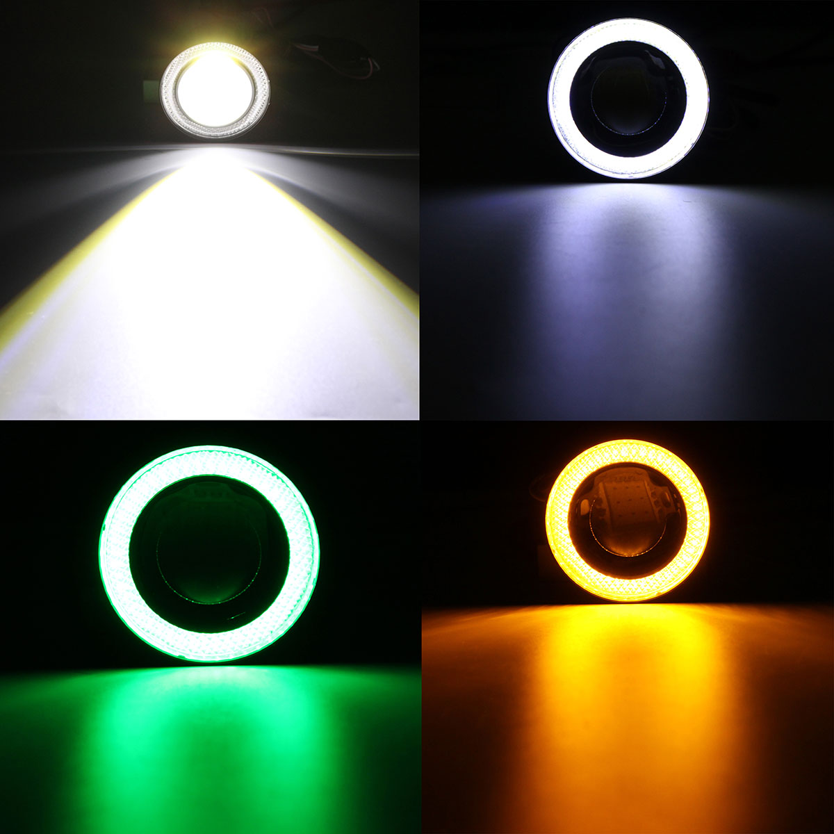 Pair Universal 2.5inch Projector COB LED Car Fog Light Halo Angel Eyes Rings DRL